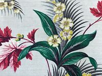 SALE! Tropical Cluster Florals Barkcloth Vintage Fabric Drape Curtain 1940's DIY