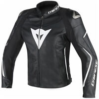 Dainese Men's Assen Perforated Leather Motorcycle Jacket Black White Size 52 EU