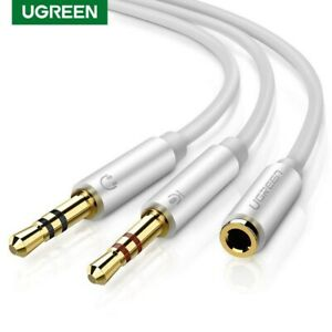 Ugreen Headphone Splitter 3.5mm Female to 2 Dual Male Mic Audio Y Cable Fr PC