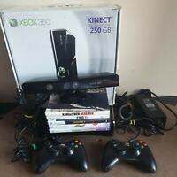 Boxed Xbox 360 Slim 250GB Console Kinect Bundle 5 FREE Games 2 Wired Controllers