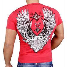Rusty Neal Herren V-Neck Kurzarm T-Shirt Japan Style Poloshirt Rot RN-3361