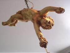 Lovely années 1900 doré plâtre angelot Suspension Plafond Lustre Lumière