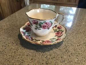 Vintage 'Salisbury' English Bone China Tea Cup & Saucer Pink Roses Gold Trim