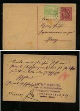 Austria postal card  uprated with Czechoslovakia  stamp  1919     HC0515