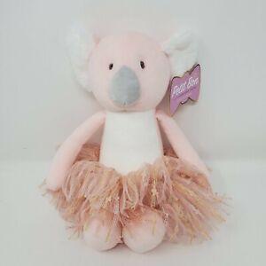"FAO Schwarz Stuffed Animal Plush 12"" Pink Koala Bear Tutu Gold Petit Bon Toy NWT"