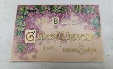 AK Neujahrskarte Prägekarte Blumen und Kleeblätter gel. 1905