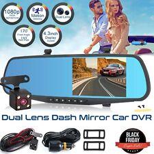 "Rearview Mirror Camera 4.3"" Dual Lens HD 1080P Car DVR Dash Cam Video Recorder"