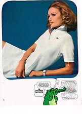PUBLICITE ADVERTISING  1969   LACOSTE   vetements de  sport