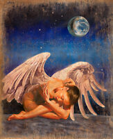 Beautiful Oil painting portrait young woman lady angel in moon night canvas