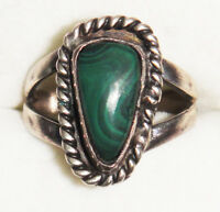 VINTAGE ANTIQUE 925 STERLING SOLID SILVER ORNATE TWIST GREEN MALACHITE RING K