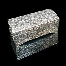 BEAUTIFUL Embossed Antique/Vintage Style Silver Plated Ladies Jewellery Box Gift