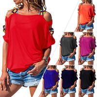 Women Short Sleeve Cutout Short Sleeve Shoulder T-shirt Blouse Summer Casual Tee