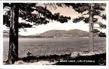 RPPC BIG BEAR LAKE , CA   LAKE VIEW PINES & Fishing Boats 1924 Frasher Postcard