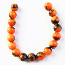 K55365 17Pcs/Set Orange Jade Gold Copper Bornite Stone Ball Pendant Bead