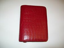 RARE FRANKLIN COVEY FAUX CROC COMPACT ZIP AROUND PLANNER RED FREE SHIPPING