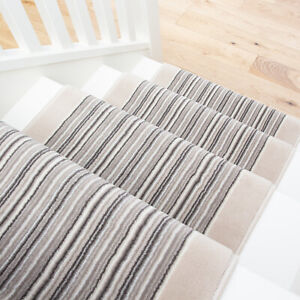 Long Ivory Grey Striped Stair Carpet Stairs Hallway Carpet Runners Sold in Feet