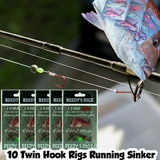 10 Snapper Snatchers Rigs Flasher Bait Rig 60lb Paternoster Surf Fishing Hook Whitting #4 Hooks