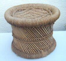 Vintage Boho Tiki Small Woven Rattan Rope Bamboo String Round Footstool