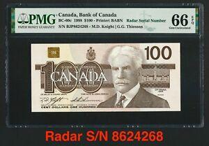 Canada 🇨🇦1988 - $100 Dollars Radar S/N Knight|Thiessen - PMG Gem UNC 66 EPQ