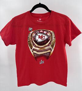 Kansas City Chiefs Super Bowl Champs Ring Youth M Red T-shirt New Fanatics NFL