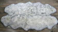 Windward Quad Australian Sheepskin Rug 100% Natural Woolmark IVORY Gry 4'x6' Fur