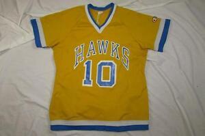 Vtg 70s 80s Lady Champion Jersey T Shirt Hawks USA Made 100% Nylon High School