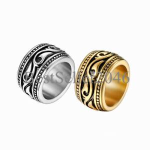 Mens 14MM Wide Vintage Stainless Steel Biker Celtic Wedding Ring Band Size 7-13