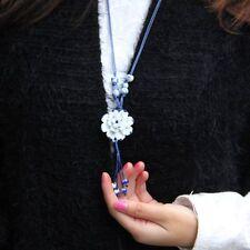 Lotus Handmade Flower Pendant Porcelain Necklace Ceramic Sweater Chain Jewelry