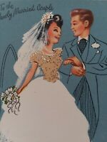50s SEQUIN SUE Vtg Pollyanna BRIDE GLITTER DRESS Congrats WEDDING GREETING CARD