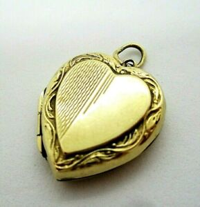 Pretty Vintage 9ct Yellow Gold Back & Front Heart Photo Pendant Locket 3.30g
