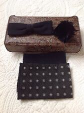 Vintage Mens Royal Black Clip On Bow Tie, Feather, 2 Hankies Set Vtg Case