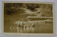 VINTAGE RPPC PHOTO NORTH BEND COOS BAY OREGON PEOPLE SWIMMING SWIM SUIT POSTCARD