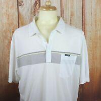 Travis Mathew Men's 2XL Polo Shirt Golf White Stretch Striped Pocket S/S XXL