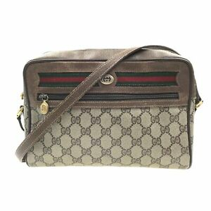 100% Authentic GUCCI GG Canvas Sherry Shoulder Bag [Used] {09-183B}
