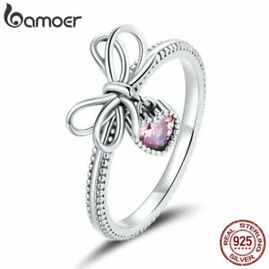BAMOER Shine S925 Sterling Silver Ring Pink AAA CZ Heart Bow For Women Jewelry