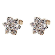 FASHIONS FOREVER® 925 Sterling Silver 6-Petal-Flower CubicZirconia Stud Earrings