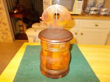 1800S VARIGATED WOOD SALT BOX HOLDER WITH LARGE BACK FOR HANGING ROUND SHAPE