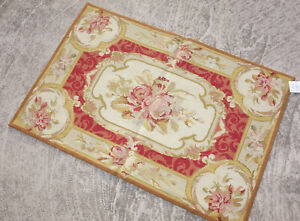 2' X 3' Beautiful Handmade Victorian Floral Aubusson Design Needlepoint Rug
