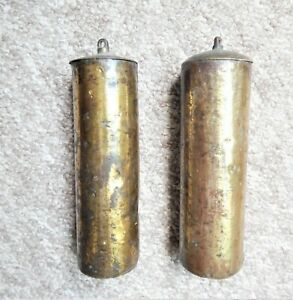 A VERY NICE PAIR OF BRASS CASED LONGCASE/GRANDFATHER CLOCK WEIGHTS 18thC