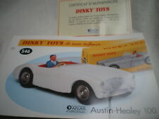 Fiche fascicule + Certificat Austin Healey 100 Dinky Toys 546  Atlas