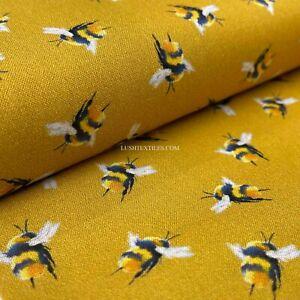 100% Digital Cotton Fabric Kids Crafty Dress Bumblebee Novelty Patterns Mustard