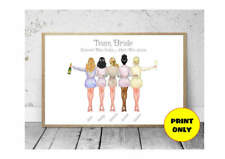 A4 Hen Party Bridesmaid Bride Tribe Personalised Print Unframed Unique Gift