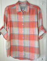 Pendleton Originals Linen Shirt Women's Size M Medium Plaid Tab Rolled Sleeve