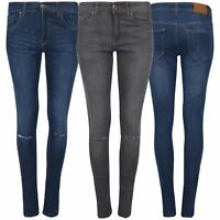 Ladies High Waisted Women Zip Up Denim Look Knee Cut Out Faded Skinny Trouser