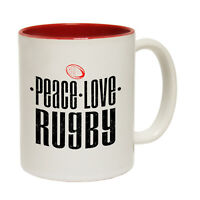 Funny Mugs - Peace Love RUGBY - Football Soccer Footy Sports NOVELTY MUG