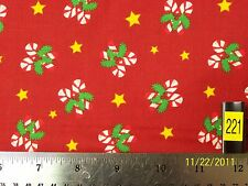 Fabric - Christmas, Candy Canes w/ Garland and Stars . = 100% Cotton #221