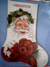 Christmas Bucilla Counted Cross Holiday Stocking KIT,VICTORIAN SANTA,82826,18""