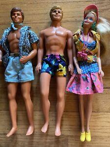 Lot of 1980s 1990s Mattel Blonde Barbie & Ken Dolls Malibu Beach Toy Story Visor