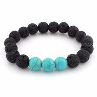 Black Lava Stone Charka Blue Gemstone Reiki Healing Bead Beaded Bracelet UK