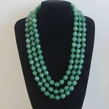 8mm Faceted 3 rows Green Aventurine Gemstone Beads Necklace 18-20 inch